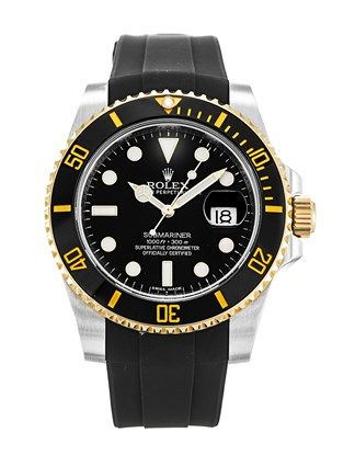Rolex Submariner 116613 LN  I'm liking the subtle steel and yellow gold '2-tone' on this version (and the yellow markings on the bezel), teamed with the rubber strap.