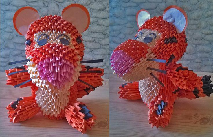 3D Origami Tiger.