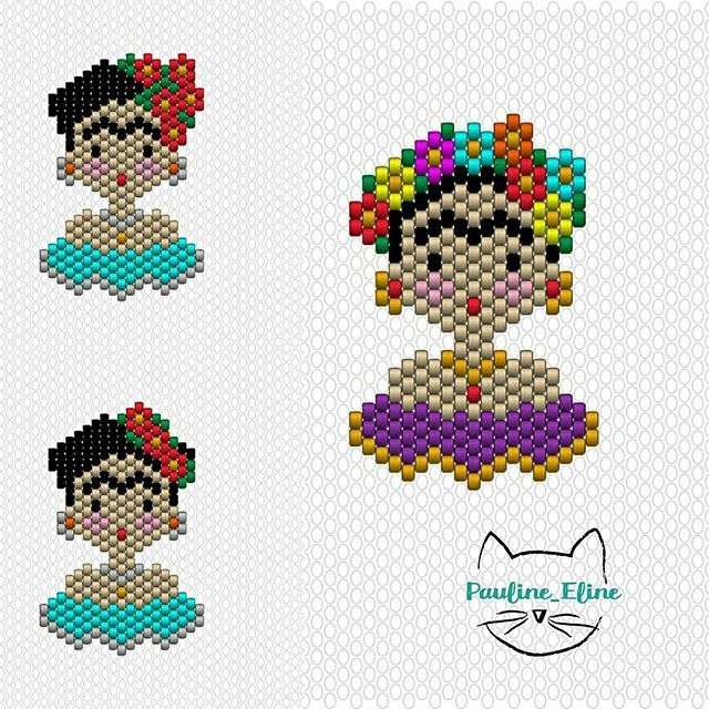 Diagrammes !!! Je vous mets toutes les nouvelles versions de Frida, vous aurez le choix... Qu'est ce je suis sympa! #jenfiledesperlesetjassume #miyukibeads #miyuki #diagrammeperles #beadwork #beadpattern #perleaddict #brickstitch #frida #fridakahlo #motifpauline_eline