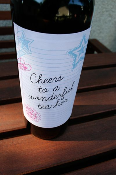 teacher gift wine label printable childish personalized products pinterest wine kiss
