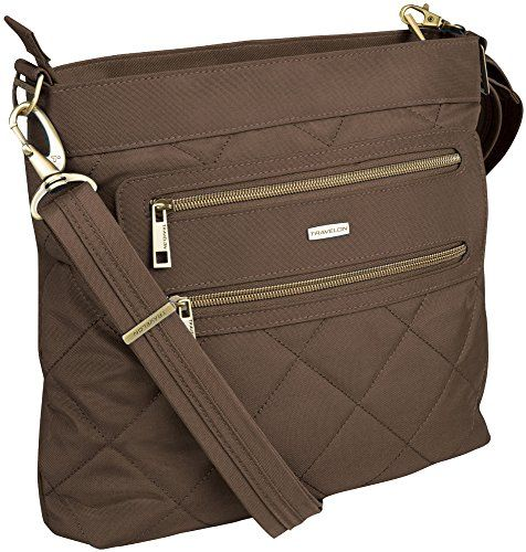 Travelon Anti-Theft Quilted 2 Zip Crossbody with RFID  Mushroom