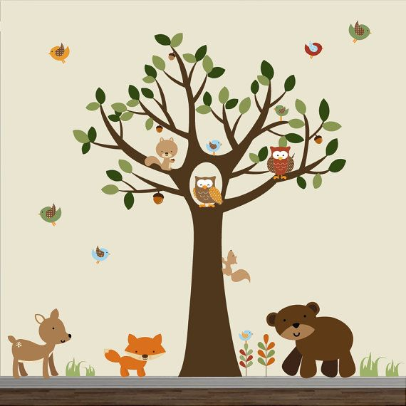 Tree Decal with Forest animals-Nursery Vinyl Wall Decals on Etsy, $159.00