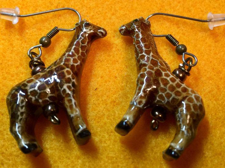 Tiny Giraffe earrings by WendysSpace on Etsy