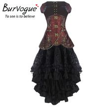 Burvogue Women Steampunk Corset Dress High Waist Skirts Waist Control Corset and Mermaid Skirt Dress Set Steampunk Corset Dress //Price: $US $59.99 & Up To 18% Cashback //     #gothicoutfit