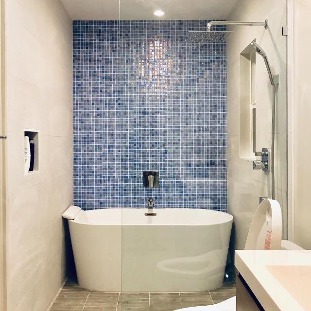Shell Azure 552 1 Mosaic Bathroom Tile Blue Mosaic Tile Glass Tile