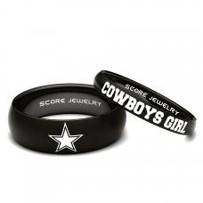 Couple Set Black Tungsten Band with Domed Edge NFL Football Dallas Cowboys Logo 8mm & Cowboys Girl 4mm Rings