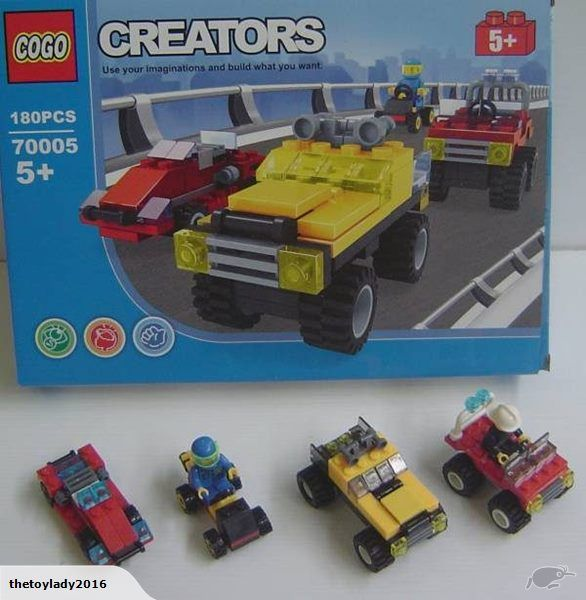 Cogo blocks to build 4 different vehicles  Blocks are compatible with lego and other major brands  Comes with 4 people  180 pieces and easy to follow instructio...