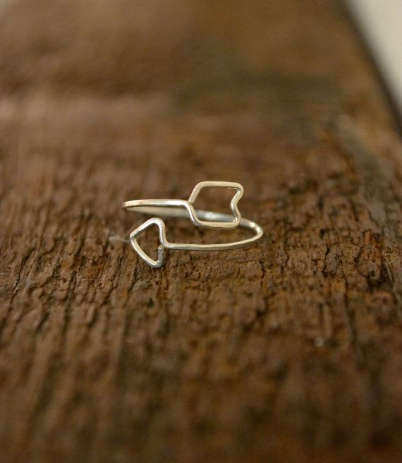 Cupid's Arrow in gold, rose gold, or silver: thin stacking ring, open arrow ring on Etsy, $24.00