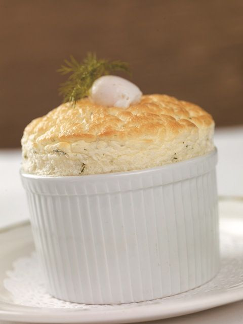 Smoked haddock and dill soufflé with a soft poached egg