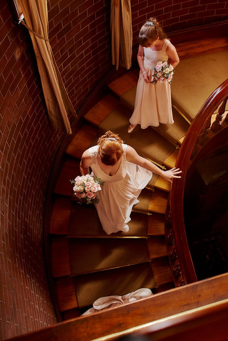 Heading down the stairs at the Newcastle Club #wedding #bridesmaids #newcastleclub