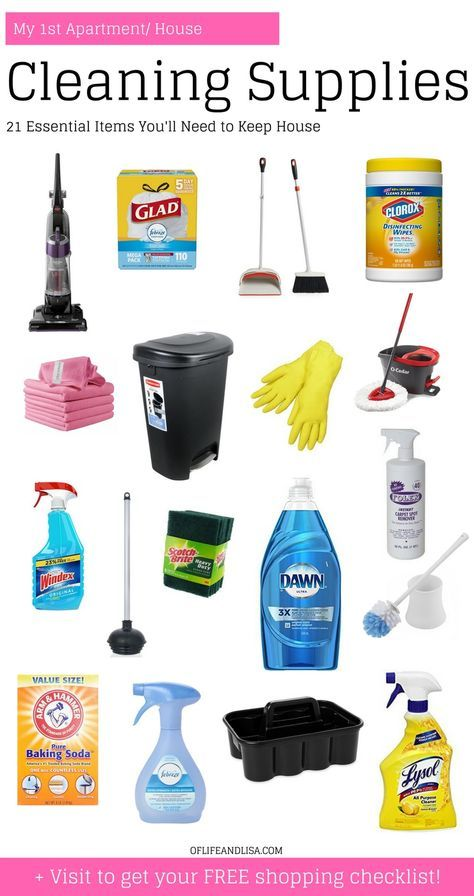 When moving into a new place, you'll need these cleaning supplies to make sure your stay is as clean and as comfortable as possible. Visit for your FREE cleaning supplies shopping checklist! Perfect for your first apartment or new house! #cleaning #cleaningtips #newhouse #newapartment #firstapartment #collegegrad #spring #movingtips