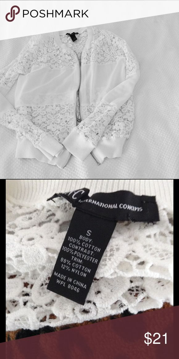 INC Sheer/Crocheted zip up Jacket White INC Sheer/Crocheted zip up Jacket. Beautiful top to add a feminine touch. INC International Concepts Tops