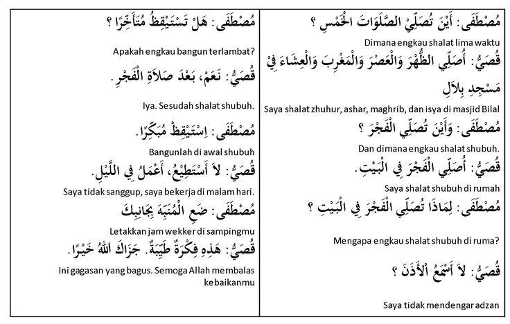 Pelajaran Bahasa Arab Percakapan Sholat Lima Waktu