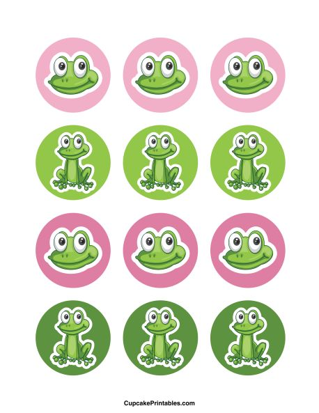 Frog cupcake toppers. Use the circles for cupcakes, party favor tags, and more. Free printable PDF download at http://cupcakeprintables.com/toppers/frog-cupcake-toppers/