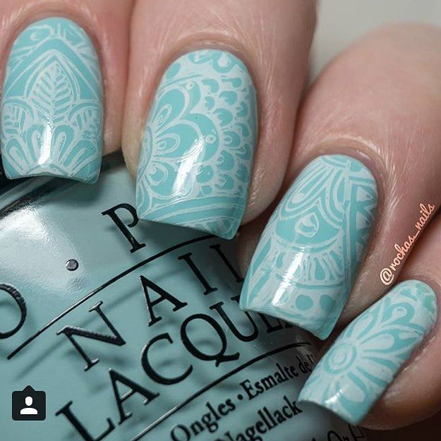#repost check out this #trueblue #manicure created by @rochas_nails using #ShangriLa #NailStamping plates isn't it the #cutest ? #BundleMoster #nailart #BMS110 #nailedit #nailswag