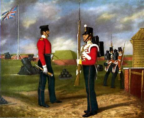 Lieutenant Colonel Egerton of the 77th Regiment with Private Alexander WRight of the Grenadier Company of the 77th who won the Victoria Cross during the Siege of Sevastopol.  Colonel Egerton was killed during the siege.