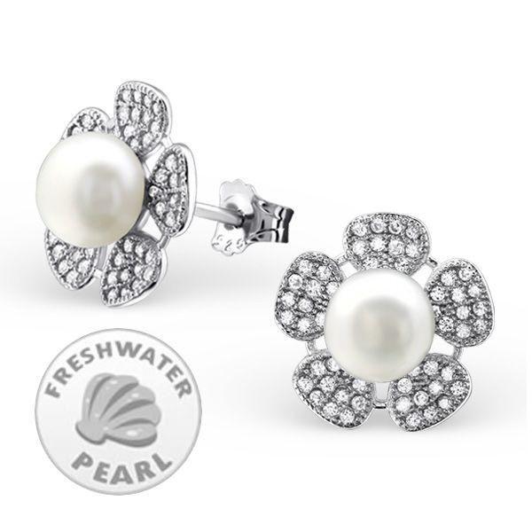 CZ Flower Stud Earrings Real Freshwater Pearls  #sterling #rings #silver #925 #xmas #ladies #earrings #online #jewelry #present