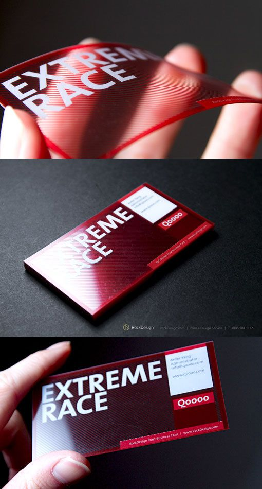 Clear UV printed business card. With a transparent face this card stands out on its own.