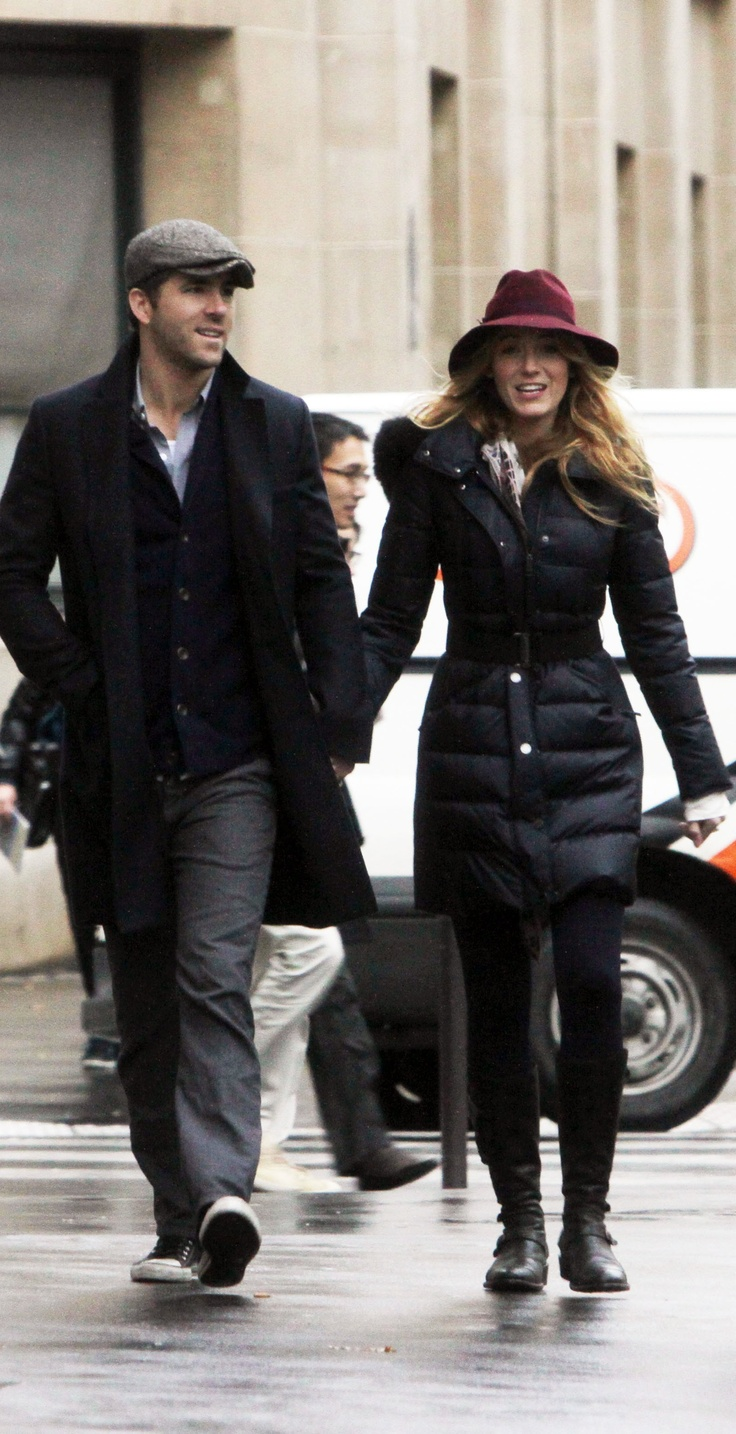 Blake Lively wearing a Burberry coat and hat in Paris