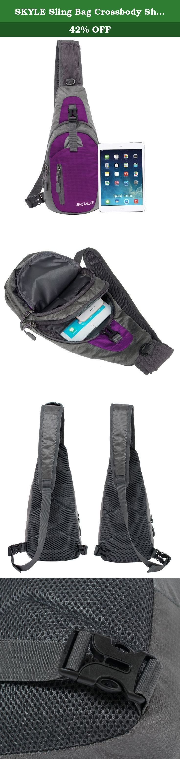 """SKYLE Sling Bag Crossbody Shoulder Chest Backpack Unbalance Gym Fanny Satchel PE. Buyer Please Note 1) Color: Due to the brightness difference among monitors, there will be slight color difference. 2) Size: a) Interior Size: Measurement on photo is about the exterior size. For your reference, the main compartment fit tablets up to 8.4 inches. b) Strap Bag: The bag on the shoulder strap fit phone up to size 4.7"""". For bigger sized phone, please store inside main compartments. c) Fit Body…"""