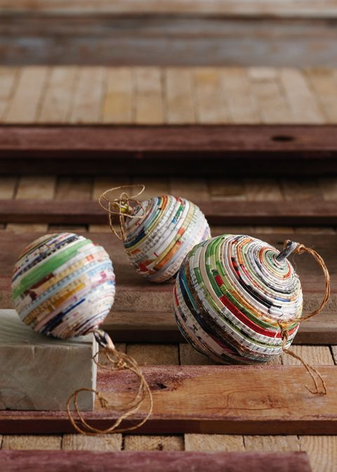 Old Magazine Upcycle - Ball Ornaments                                                                                                                                                      More