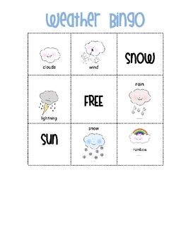 A colorful weather bingo game, a fun addition to any weather unit!  Includes four different bingo cards and calling cards.  ...