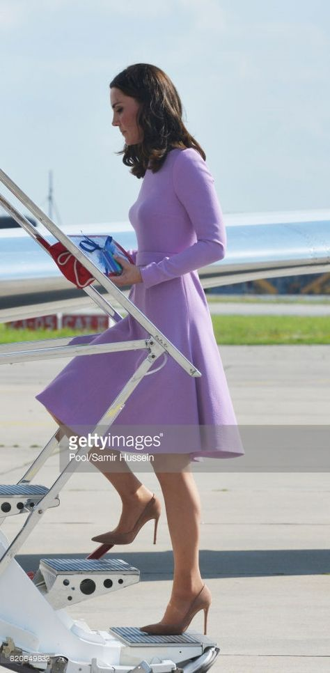 Catherine, Duchess of Cambridge departs from Hamburg airport on the last day of their official visit to Poland and Germany on July 21, 2017 in Hamburg, Germany.