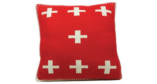 Crosses Cushion in red