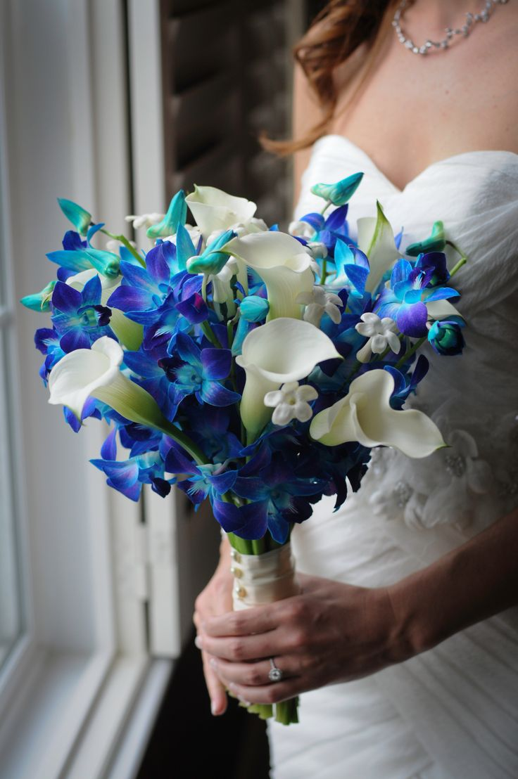 Bride's Gorgeous Hand Tied Bouquet Featuring: White Calla Lilies, White Stephanotis, Blue Dendrobium Orchids