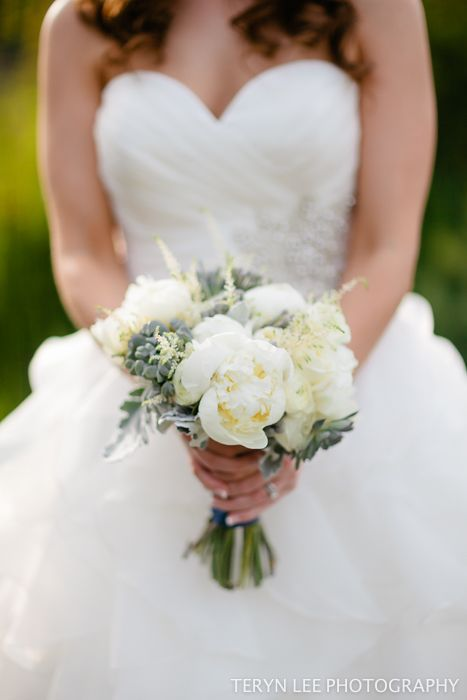 white garden roses, peonies, ranuncula, astilbe, dusty miller and succulents