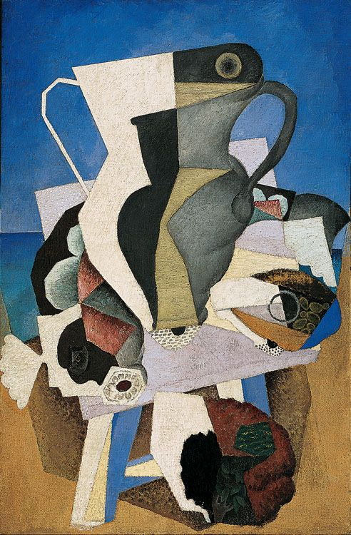 Diego Rivera: Still life (Mallorca), 1915. oil on canvas. Columbus Museum of Art, Ohio (part of the 2004 exhibition of Rivera's Cubist paintings at the National Gallery of Art, Washington, D.C.). #DiegoRivera #Cubism