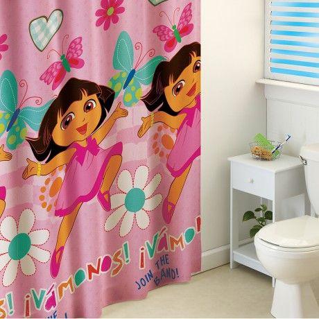 Cortina para baño Dora Mariposas. #Dora #Recamara #Cuarto #Decoracion #Colchas #Intima #Cobertor #Ideas #IntimaHogar