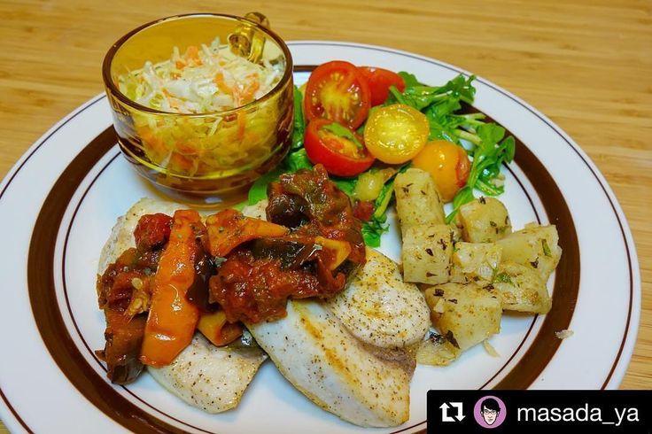 #Repost @masada_ya  晩御飯は作り置きを使ってワンプレートにメカジキのソテーにラタトゥイユをソースがわりそえてサイドはコールスローとミント風味のポテトスモモとミニトマトとルッコラのサラダ最近フルーツを使ったサラダがマイブーム甘めのシェリー酒ビネガーとレモン風味のオリーブオイルのドレッシングにスモモがいい感じにキマった 笑 #meallog #food #foodporn #tw #作