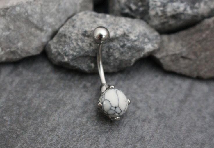 Howlite Belly Bar, Belly Button Jewellery, Navel Piercing, Navel Ring, White Opal, Gem Stone, Gemstone, Curved Barbell 14G 14 Gauge