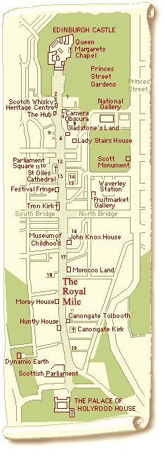 Map of The Royal Mile and a guide to the buildings in it.