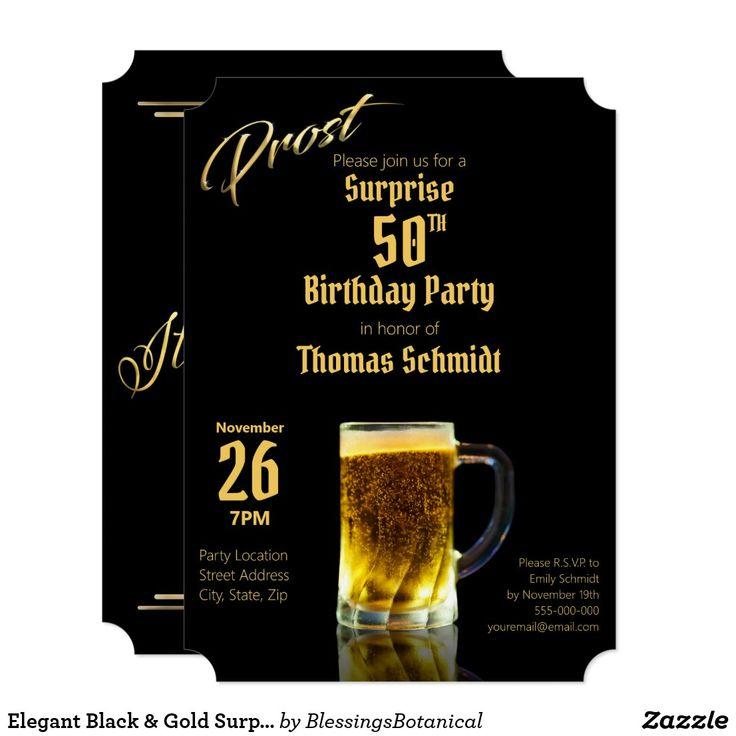 Elegant black gold surprise 50th birthday party