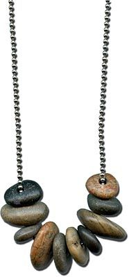 simple style - drilled river rocks from an American craftsperson, strung on ball chain.