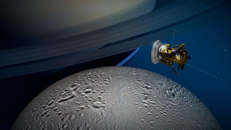 Cassini over Enceladus