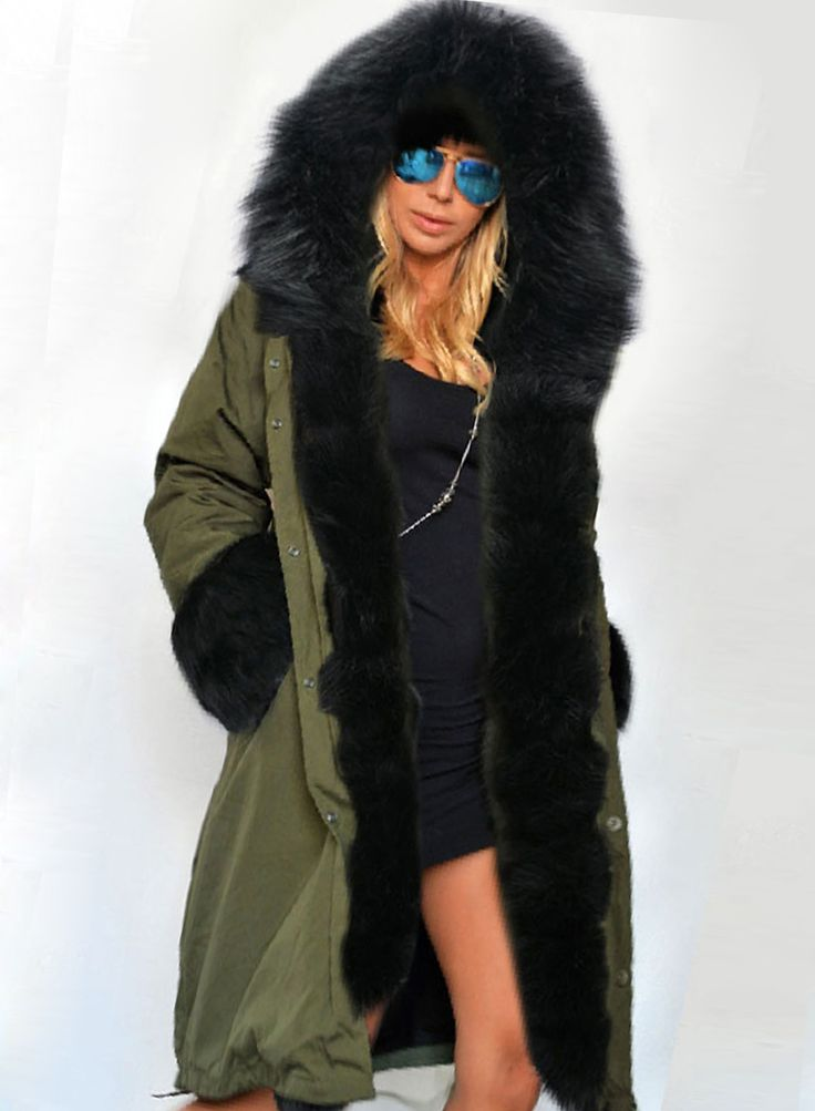 Women's Warm Slim Hoodie Coat with Fur Trim Gorgeous