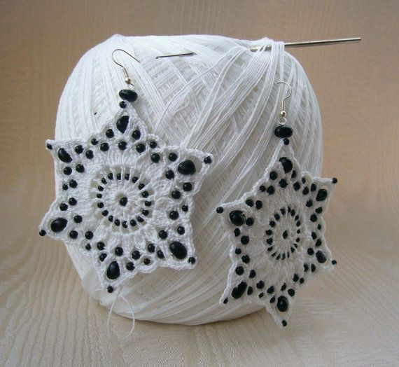 Hand Crochet and Beaded Large White Cotton