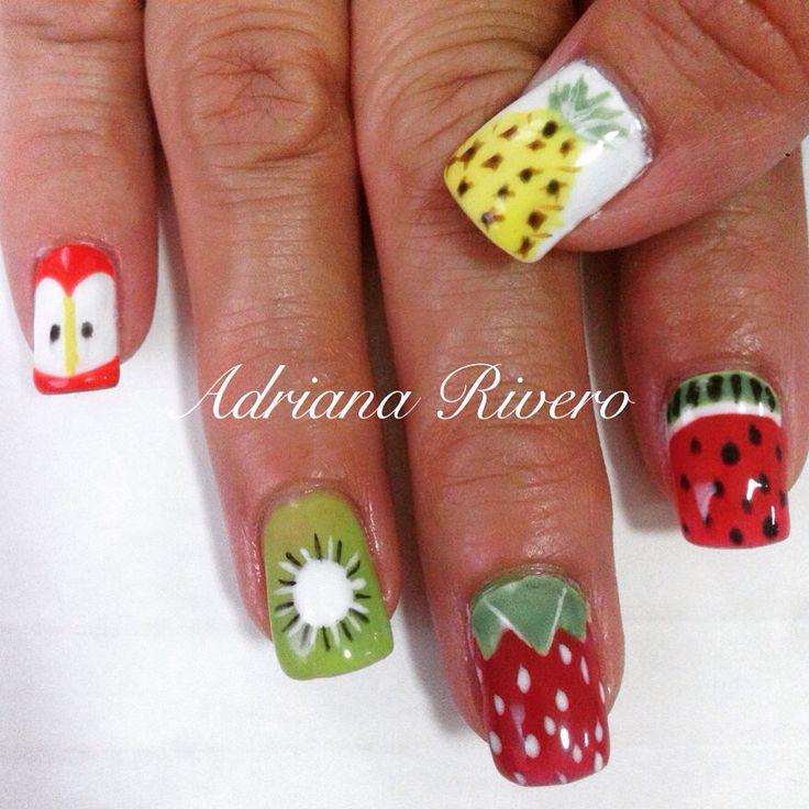 #nails #acrylicnails #fruits #watermelon #strawberry #kiwi #apple #pineapple #handpainted #laquerpro #shortsize