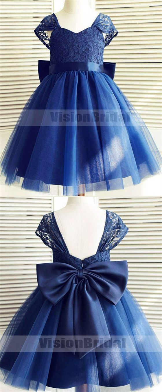31d01c79e Cute Dark Blue Cap Sleeves Top Lace A-Line Knee-Length Flower Girl ...