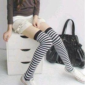 Cotton 90% preppystyle over-the-knee knee socks sexy stockings legs black temptation 3052