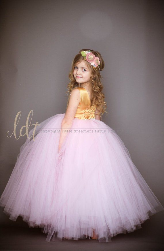 bca46756fb The Juliet Dress - Gold Sequin Bodice and Light Pink Tulle - Flower ...