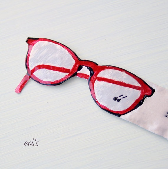 Hand Painted Red Eye Glasses Hand Stamped by EVIsMetalworkJewelry, €9.00