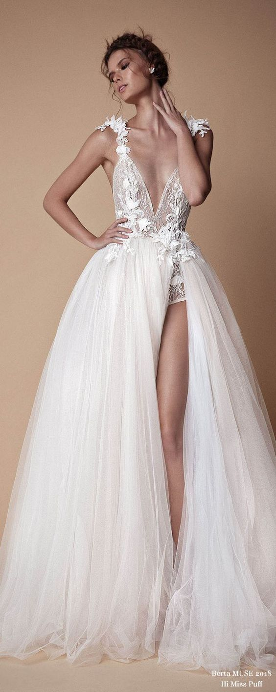 Deep v neck prom dress,backless evening dress,prom dress with split,bride dress from prettyladydress