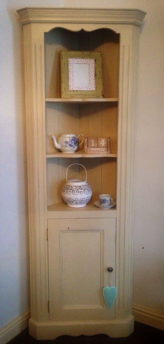 Cream corner unit. Solid Pine and painted in Old Ochre. Replaced the handle with a brand new vintage looking bronze one. Lightly distressed.