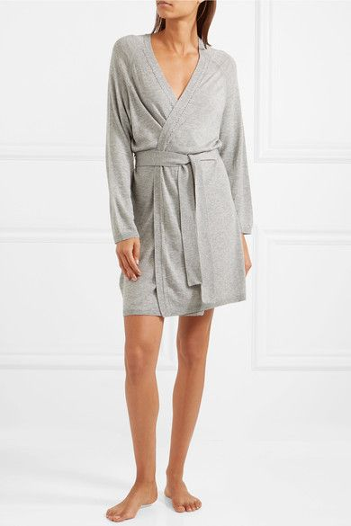 Skin - Wool, Modal And Cashmere-blend Robe - Stone
