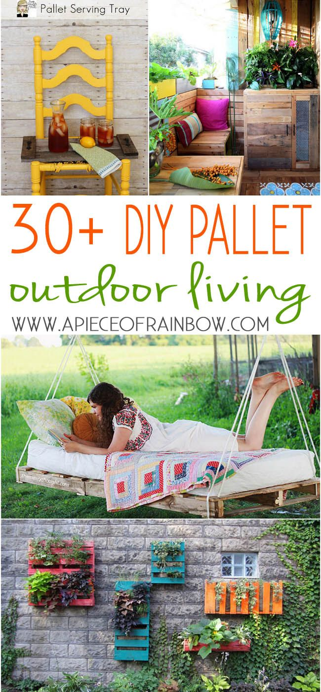 30+ inspiring DIY Pallet outdoor living projects with great tutorials!  Pallet chandelier, pallet swings, pallet doormat, pallet love seat, and lots more!  - A Piece Of Rainbow