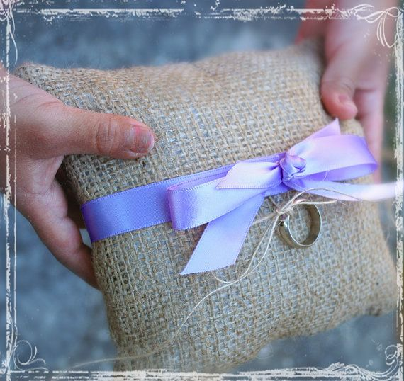 Dolled-Up Burlap Ring Bearer Pillow - Your Choice Of Ribbon Color - Weddings - Summer Winter Fall Spring Wedding - Rustic Country